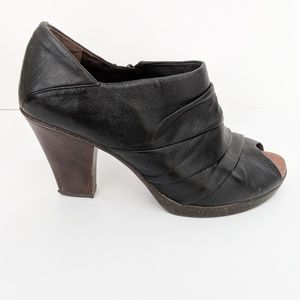 Naya Ana black peep toe leather heeled ankle boots